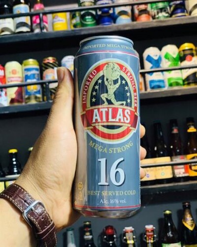 Bia Atlas Mega Strong 16%-Lon 500ml