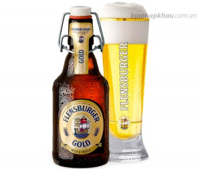 Bia Flensburger Gold 4,8% nút sứ - chai 330ml