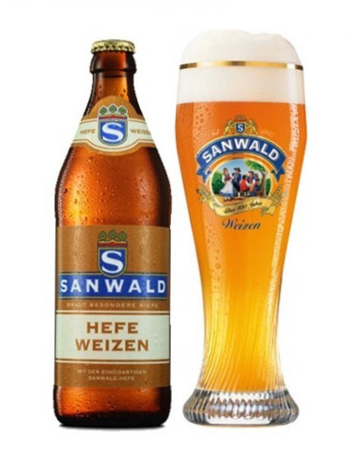 Bia Sanwald Dunkel Weizen 4,9% - chai 500ml
